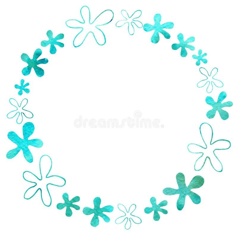 Struttura rotonda dei fiori Disegno dell'acquerello con un colpo di contorno su un fondo bianco, per la progettazione degli invit royalty illustrazione gratis
