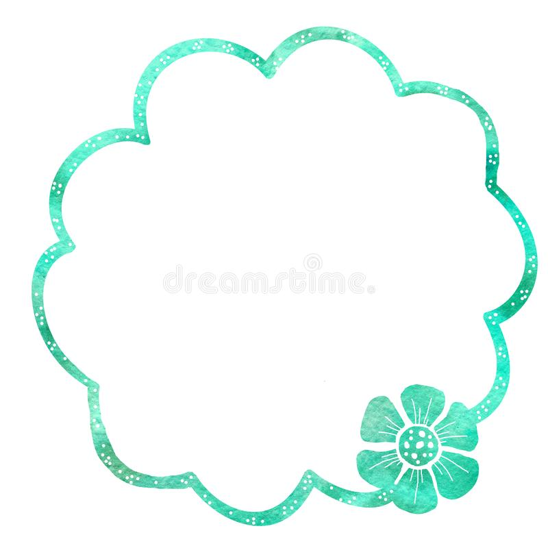 Struttura rotonda dei fiori Disegno dell'acquerello con un colpo di contorno su un fondo bianco, per la progettazione degli invit illustrazione vettoriale