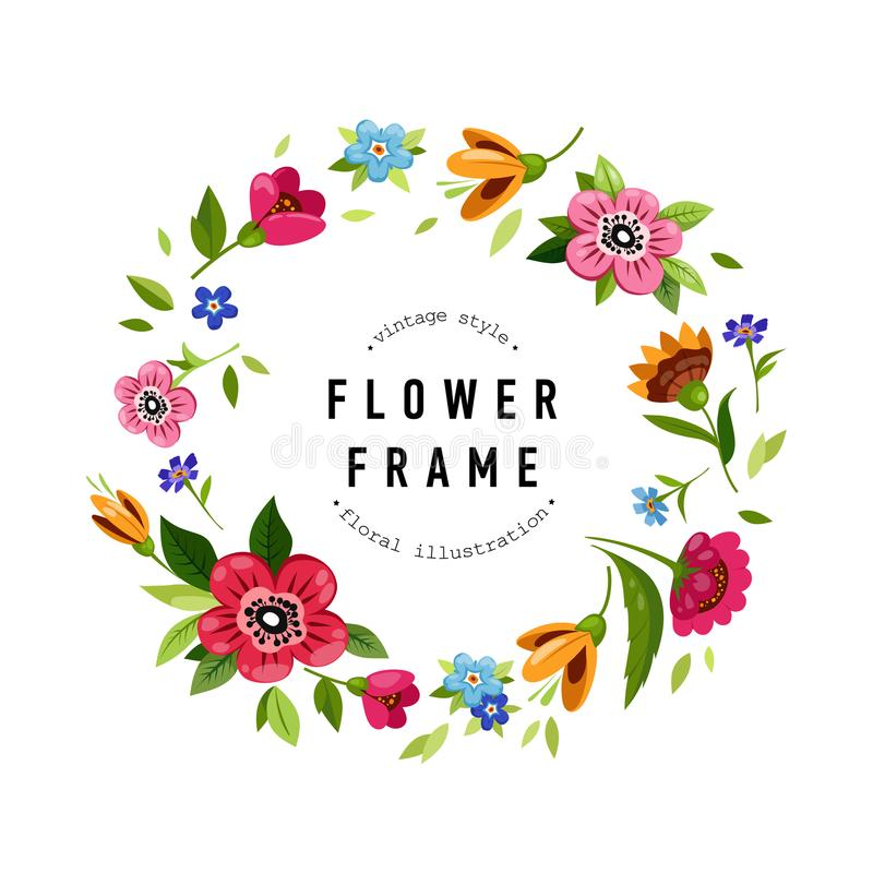 Struttura rotonda del fiore per la cartolina d'auguri o dell'invito Corona floreale variopinta con i fiori, rami, germogli, fogli illustrazione di stock