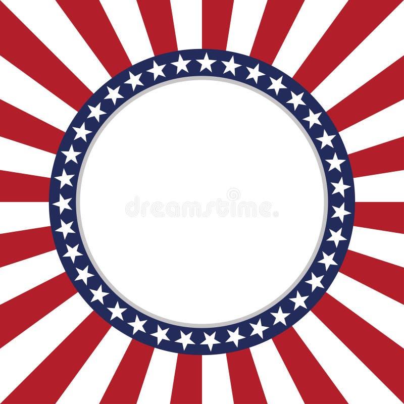 Struttura rotonda del modello di vettore della stella di U.S.A. Confine patriottico americano del cerchio con il modello di stell royalty illustrazione gratis