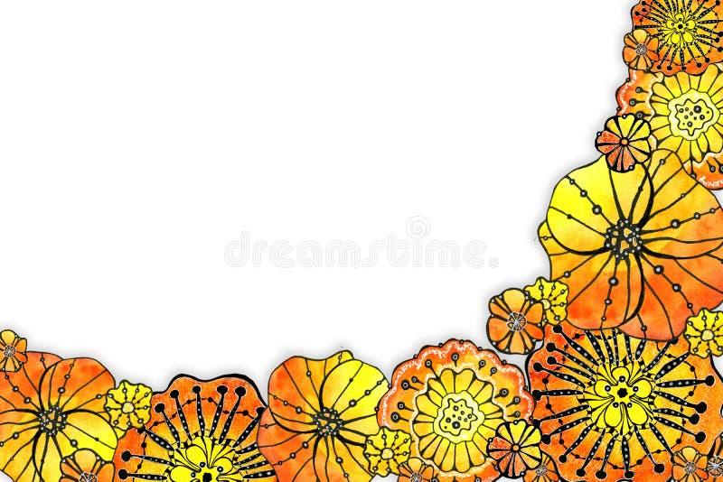 Struttura rotonda del papavero dei fiori Disegno dell'acquerello con un colpo di contorno su un fondo bianco, per la progettazion illustrazione vettoriale