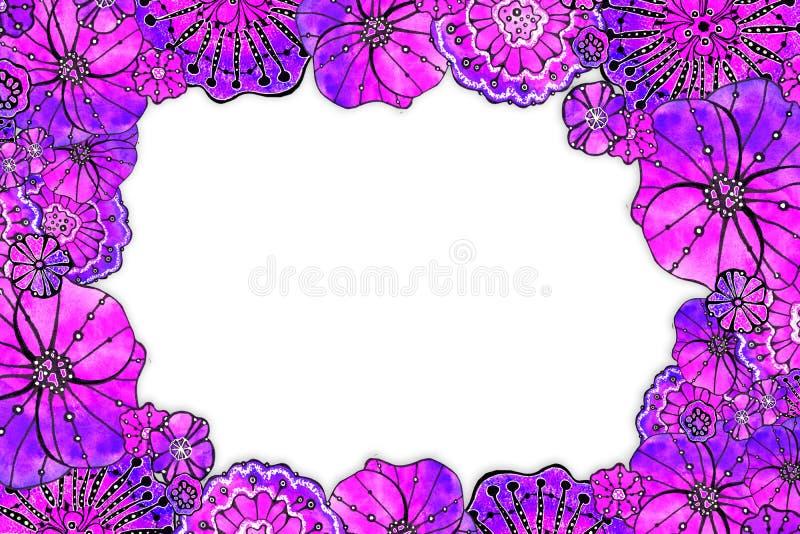 Struttura rotonda del papavero dei fiori Disegno dell'acquerello con un colpo di contorno su un fondo bianco, per la progettazion illustrazione di stock