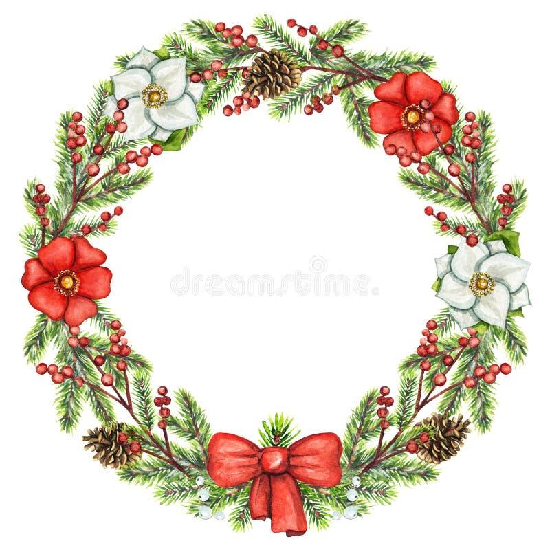 Struttura rotonda dell'acquerello con le bacche, i fiori, i coni, l'arco e lo spr illustrazione vettoriale