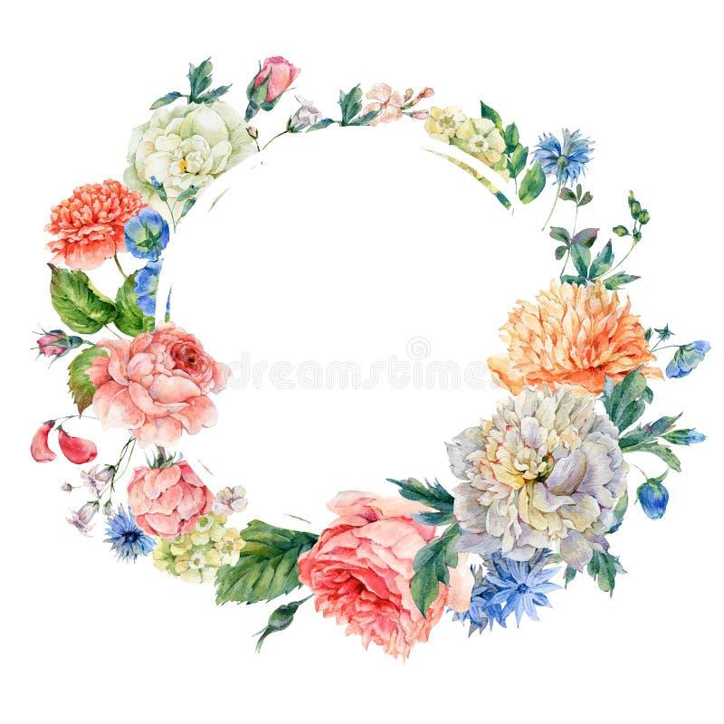 Struttura rotonda dell'acquerello con le peonie, rose illustrazione di stock