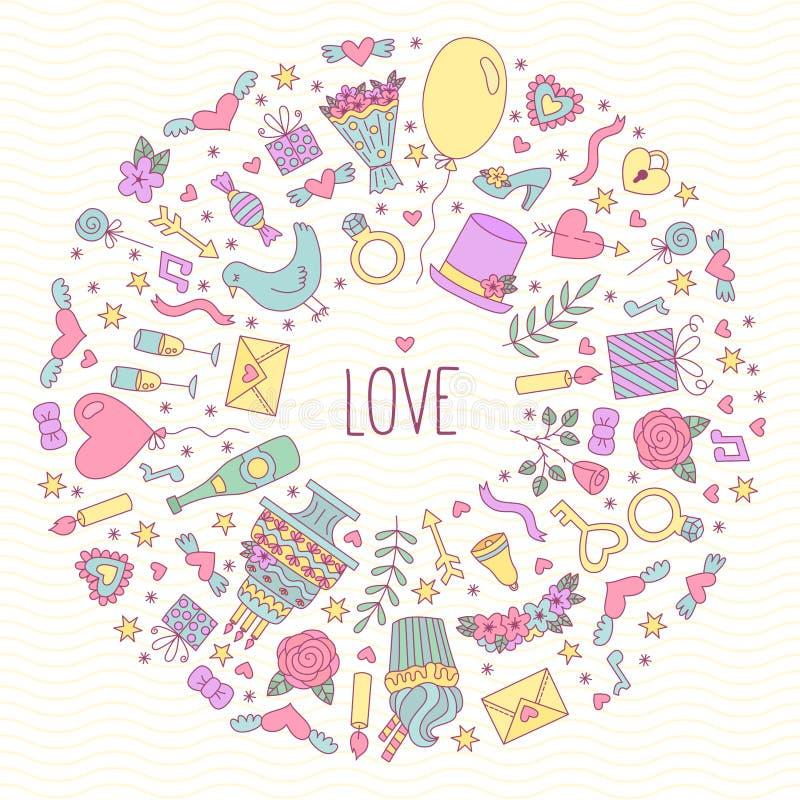 Struttura rotonda delle icone romanzesche di scarabocchio di amore di nozze illustrazione vettoriale