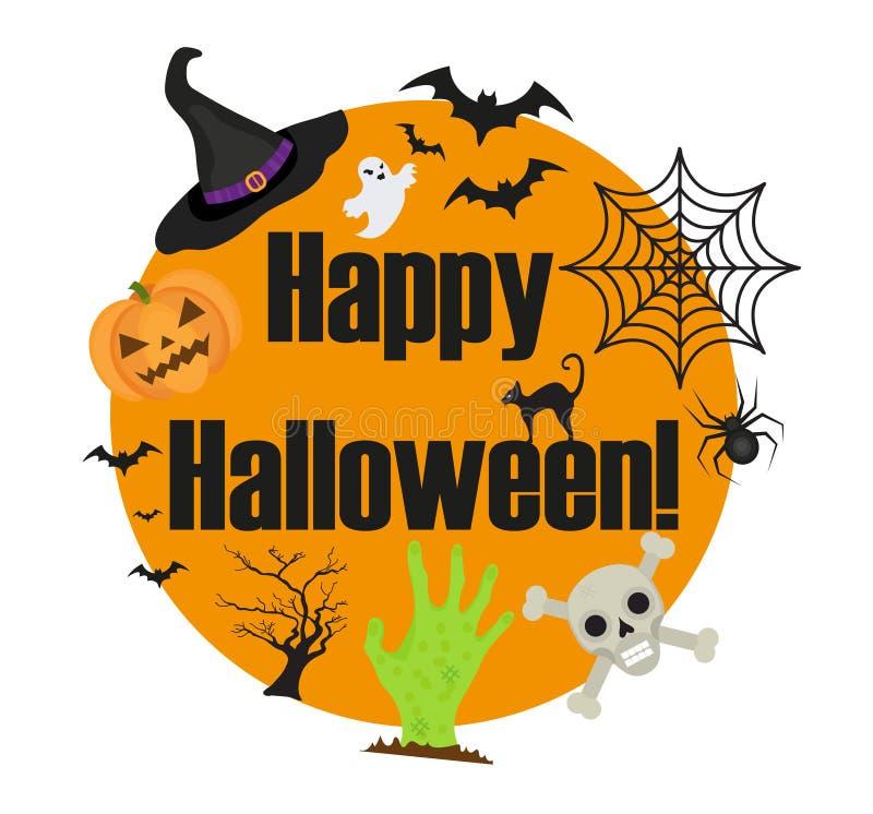 Struttura rotonda di Halloween per testo con un ragno, zucca, cappello della strega, gatto nero Isolato su priorità bassa bianca  royalty illustrazione gratis