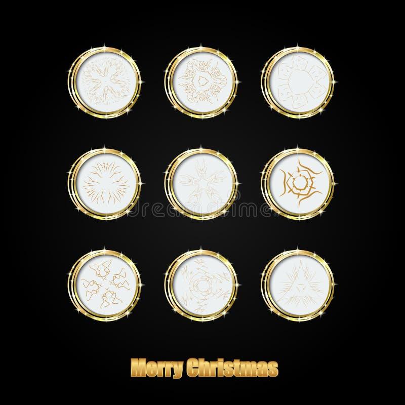 Struttura rotonda di Natale con i fiocchi di neve dorati e posto per testo illustrazione vettoriale