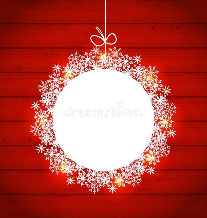 Struttura rotonda di Natale fatta in fiocchi di neve su backgroun di legno rosso royalty illustrazione gratis
