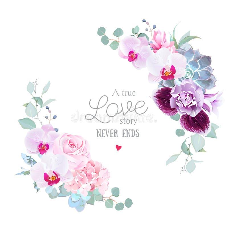 Struttura rotonda di vettore floreale dell'orchidea porpora, rosa di rosa, ortensia illustrazione di stock