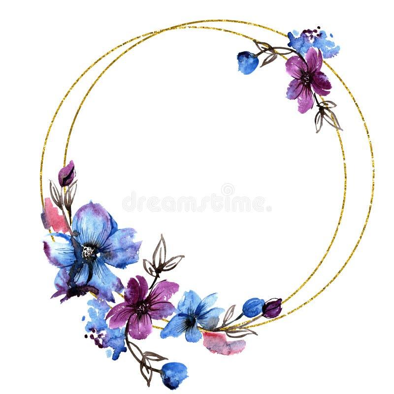 Struttura rotonda dipinta a mano dell'acquerello con i fiori blu e porpora Invito, cartolina d'auguri illustrazione vettoriale