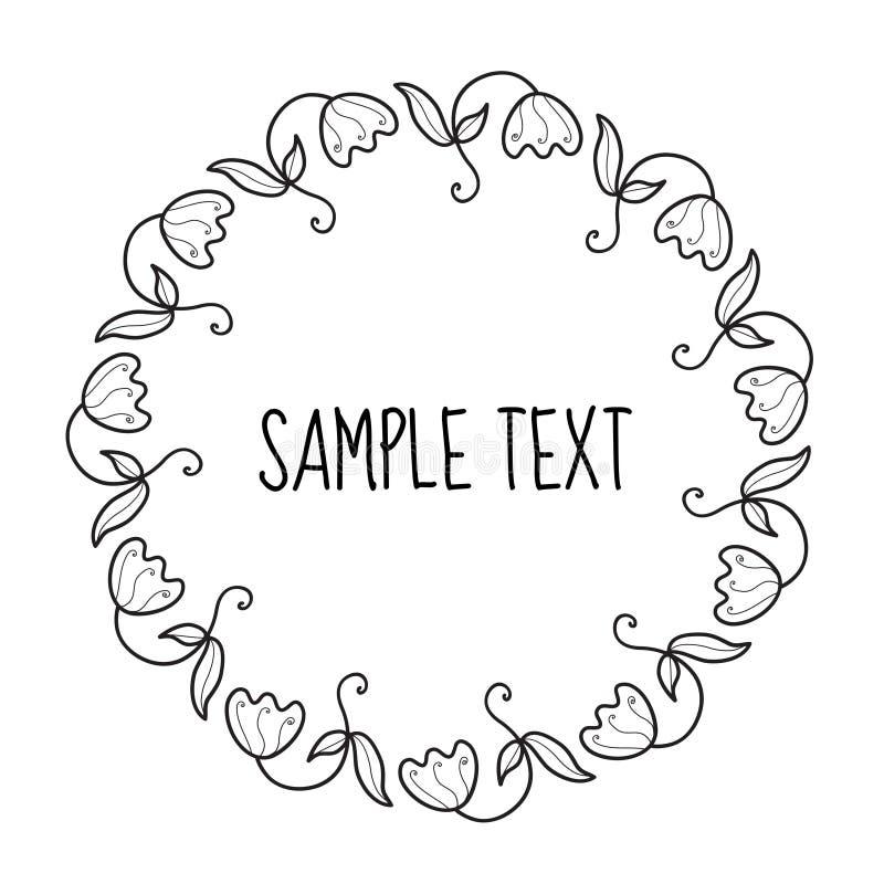 Struttura rotonda floreale per testo Invito della struttura del fiore Disegno della mano dei fiori, stile di scarabocchio Illustr royalty illustrazione gratis