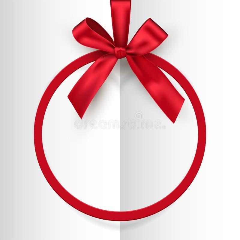Struttura rotonda rossa di festa con l'arco e nastro sul fondo aperto bianco del libro Cartolina di vettore o modello della carto illustrazione vettoriale