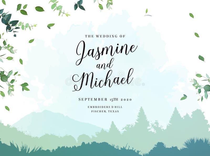 Struttura rustica di viaggio minimalista di erbe di nozze royalty illustrazione gratis