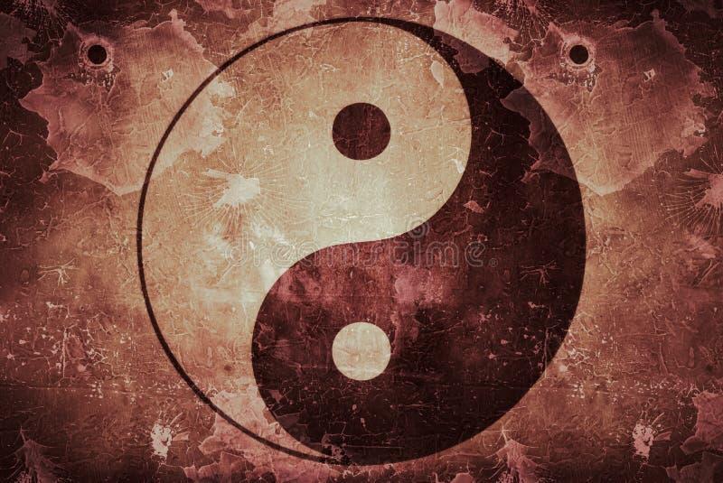 Struttura rustica di Yin Yang su fondo sporco illustrazione vettoriale