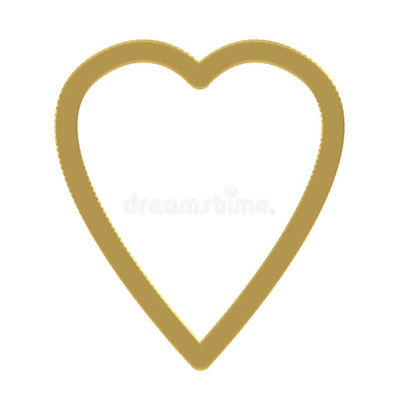 Struttura semplice dell'oro isolata su fondo bianco Forma del cuore con il bordo operato cesellato di effetto illustrazione di stock