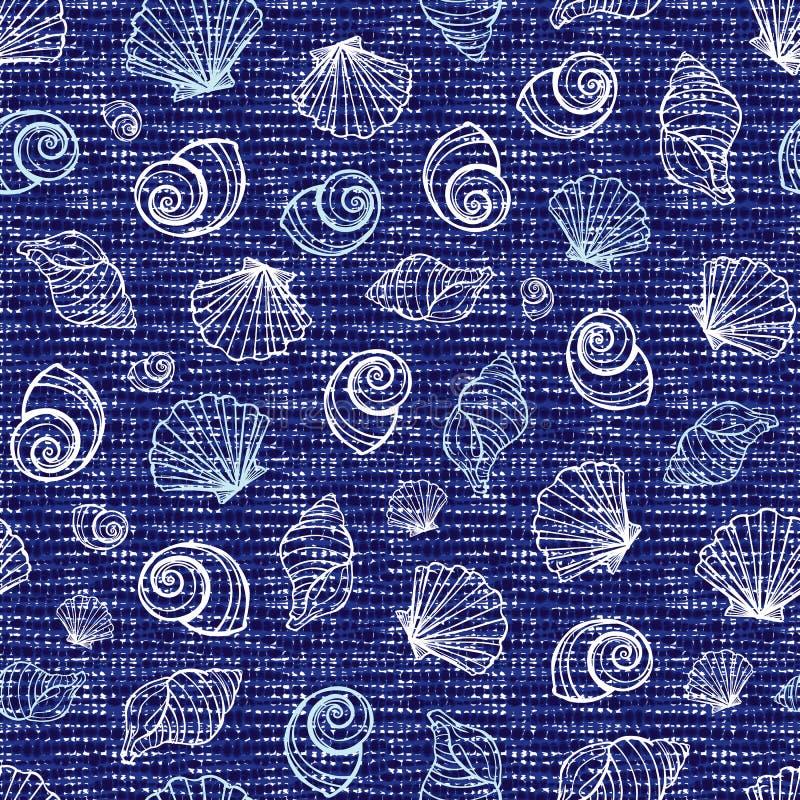 Struttura senza cuciture blu del tessuto di vettore con le varie conchiglie Tela per ricamo Adatto a tessuto, involucro di regalo illustrazione vettoriale