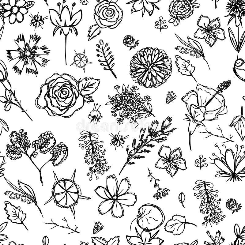 Struttura senza cuciture che descrive i disegni del ` s dei bambini dei fiori estratti rapidamente a mano illustrazione vettoriale