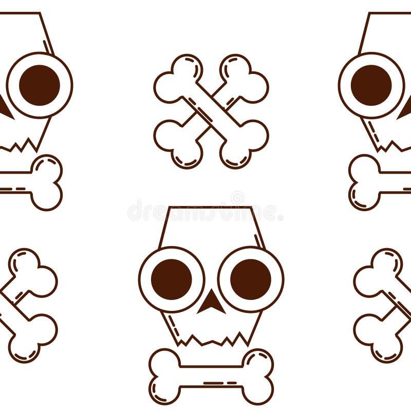 Struttura senza cuciture con i crani Cranio ed ossa Modello di Halloween royalty illustrazione gratis