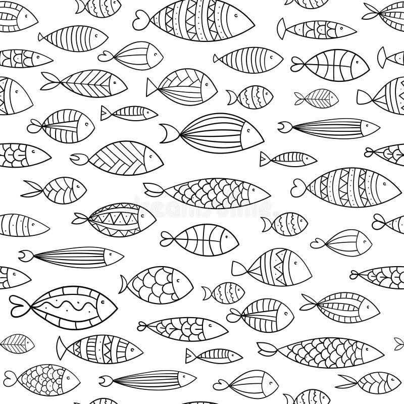Struttura senza cuciture con i pesci stilizzati Stampando per i tessuti Illustrazione in bianco e nero per la carta da parati illustrazione di stock