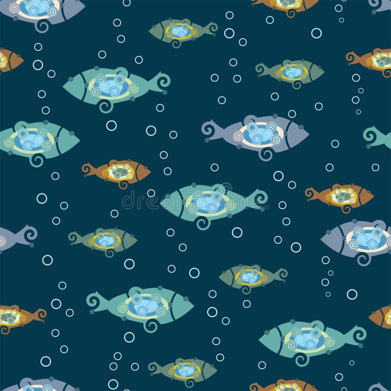 Struttura senza cuciture con i pesci stilizzati Tessuti con i pesci del fumetto illustrazione vettoriale