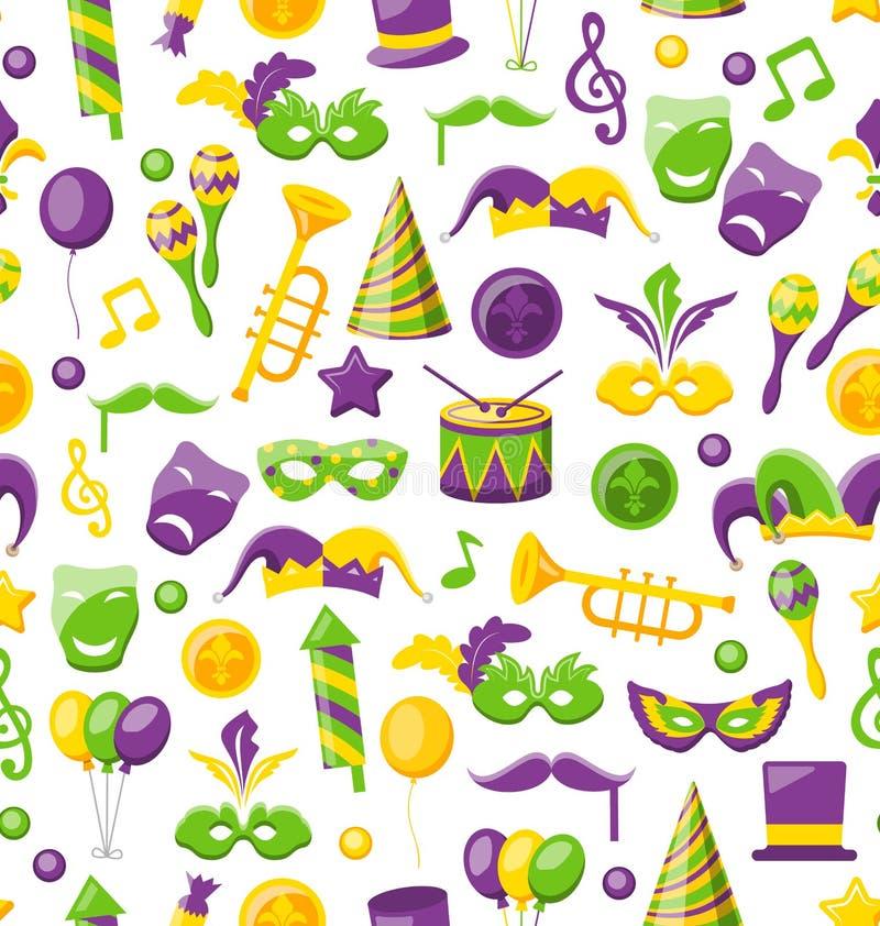 Struttura senza cuciture con il carnevale dell'insieme e Mardi Gras Icons ed oggetti illustrazione vettoriale