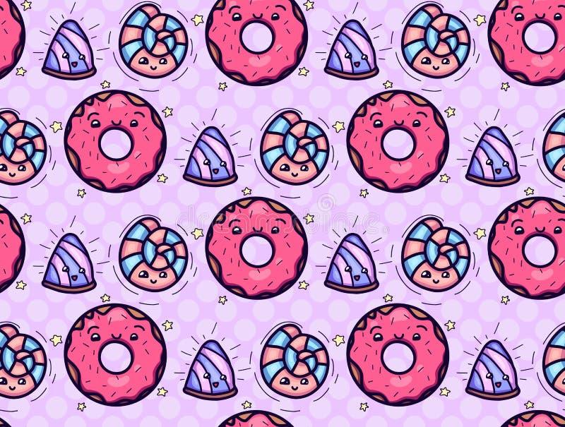 Struttura senza cuciture con la ciambella di kawai e sveglia e la caramella sul fondo rosa di Polka Reticolo di vettore illustrazione vettoriale