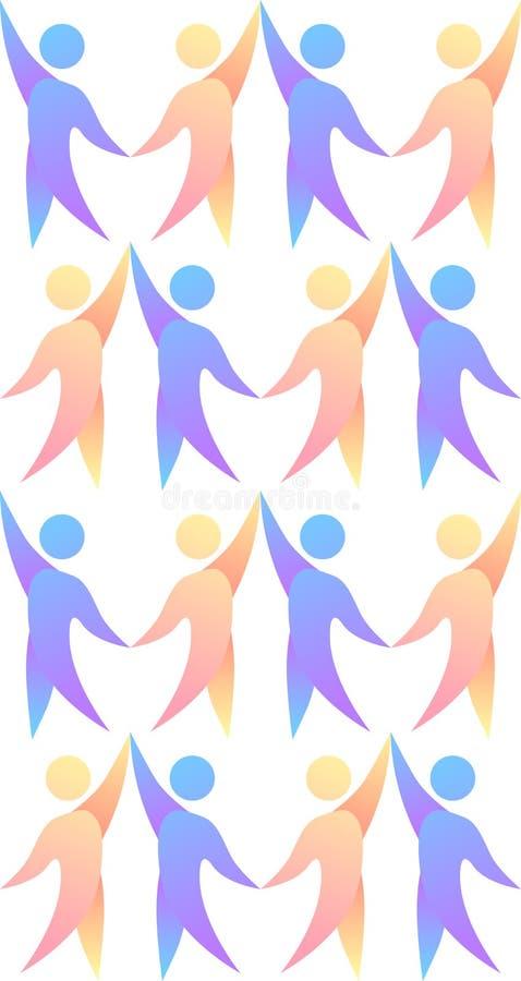 Struttura senza cuciture con la gente multicolore di dancing illustrazione di stock