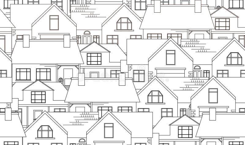Struttura senza cuciture con le case di campagna di contorno illustrazione vettoriale