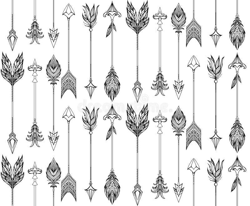 Struttura senza cuciture con le frecce di boho con differenti punte e piume illustrazione di stock