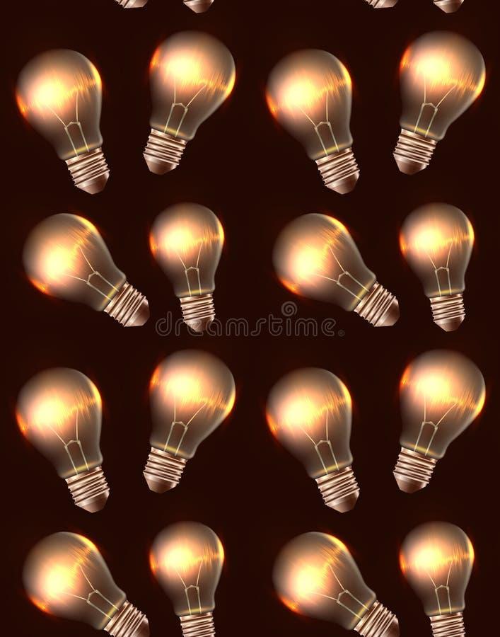 Struttura senza cuciture con le lampadine e la luce realistiche illustrazione vettoriale