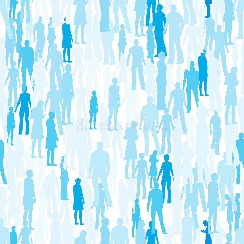 Struttura senza cuciture con le siluette della gente in blu con differenti tonalità Illustrazione di vettore illustrazione di stock