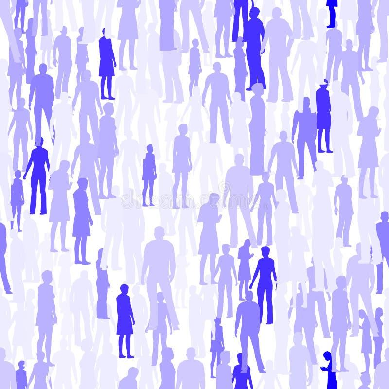 Struttura senza cuciture con le siluette della gente Struttura con le siluette blu della gente Illustrazione di vettore illustrazione di stock
