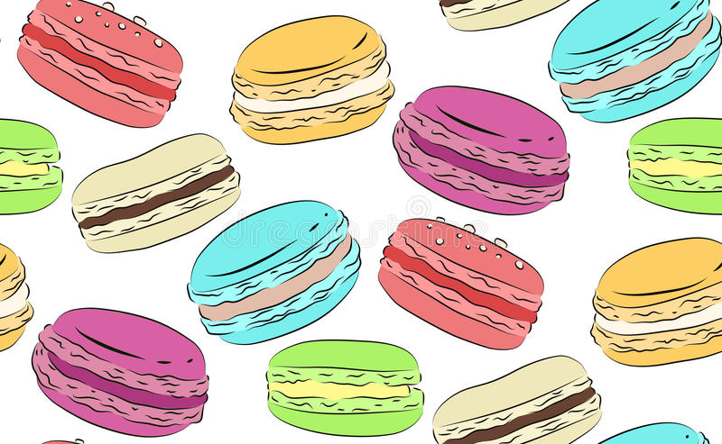 Struttura senza cuciture con un disegno dei maccheroni multicolori illustrazione di stock