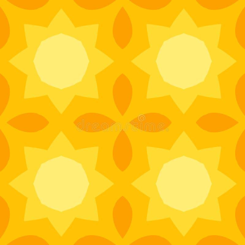 Struttura senza cuciture con un sole giallo e le foglie dell'arancia illustrazione di stock