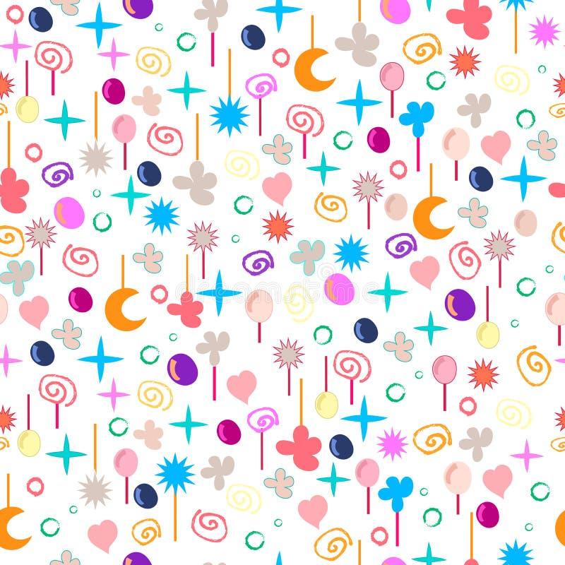 Struttura senza cuciture cosmica del modello con cuore, la luna, le stelle, la bolla ed i fiori Tessuto di vettore, avvolgentesi, illustrazione di stock