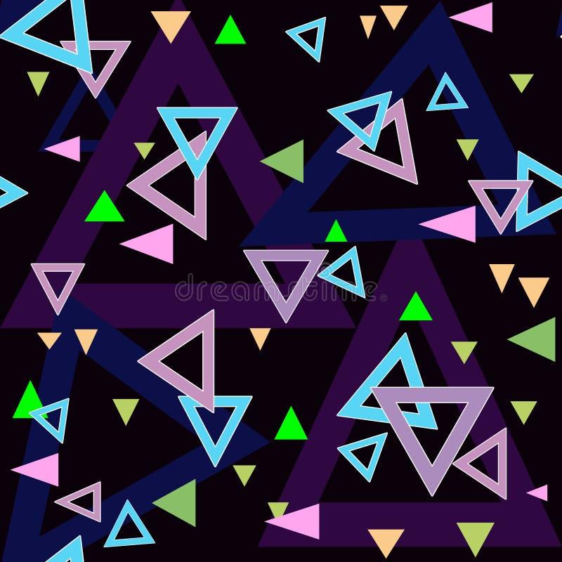 Struttura senza cuciture del fondo del modello dei triangoli astratti sul nero royalty illustrazione gratis