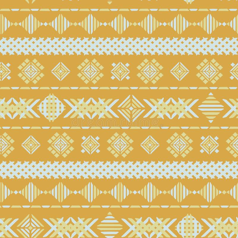 Struttura senza cuciture del fondo di vettore del ricamo geometrico giallo illustrazione vettoriale