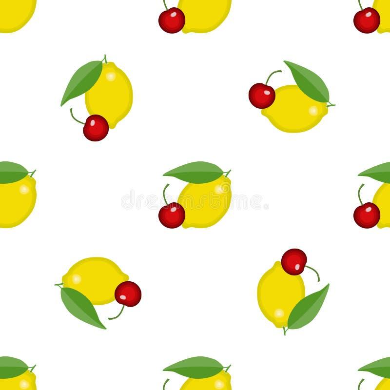 Struttura senza cuciture del modello con il limone e la ciliegia Tessuto di vettore, avvolgentesi, carta da parati, fondo royalty illustrazione gratis