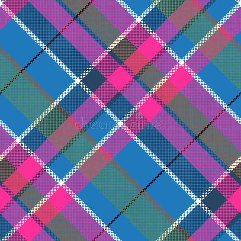 Struttura senza cuciture del tessuto del modello rosa blu dei pixel royalty illustrazione gratis