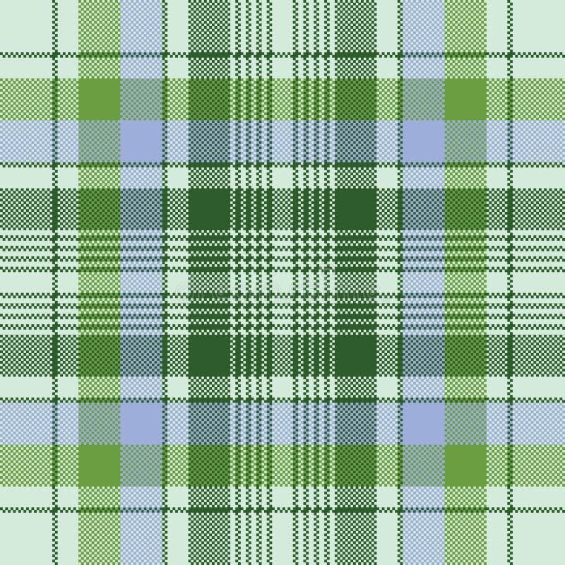 Struttura senza cuciture del tessuto del pixel verde del plaid illustrazione vettoriale