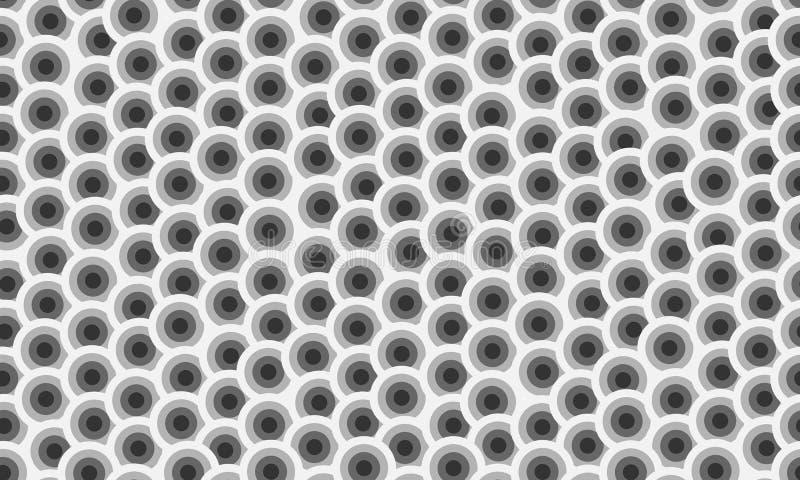 Struttura senza cuciture della sovrapposizione di vettore di griglia caotica dei cerchi illustrazione di stock