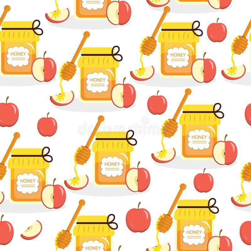 Struttura senza cuciture delle mele e del miele sul nuovo anno ebreo Rosh Hashanah Illustrazione di vettore illustrazione di stock