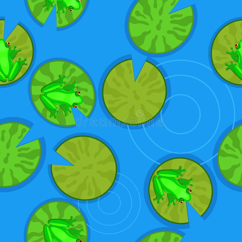 Struttura senza cuciture delle rane sui travertini su uno stagno Illustrazione di vettore illustrazione di stock