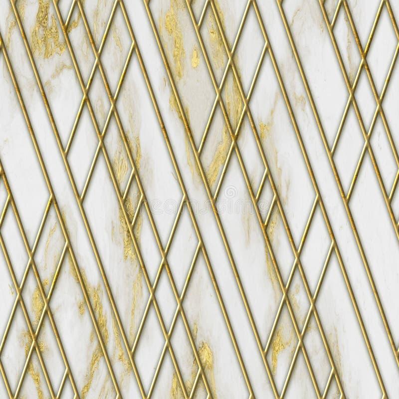 Struttura senza cuciture di colore dell'oro e del marmo con il modello geometrico, illustrazione 3D fotografia stock libera da diritti