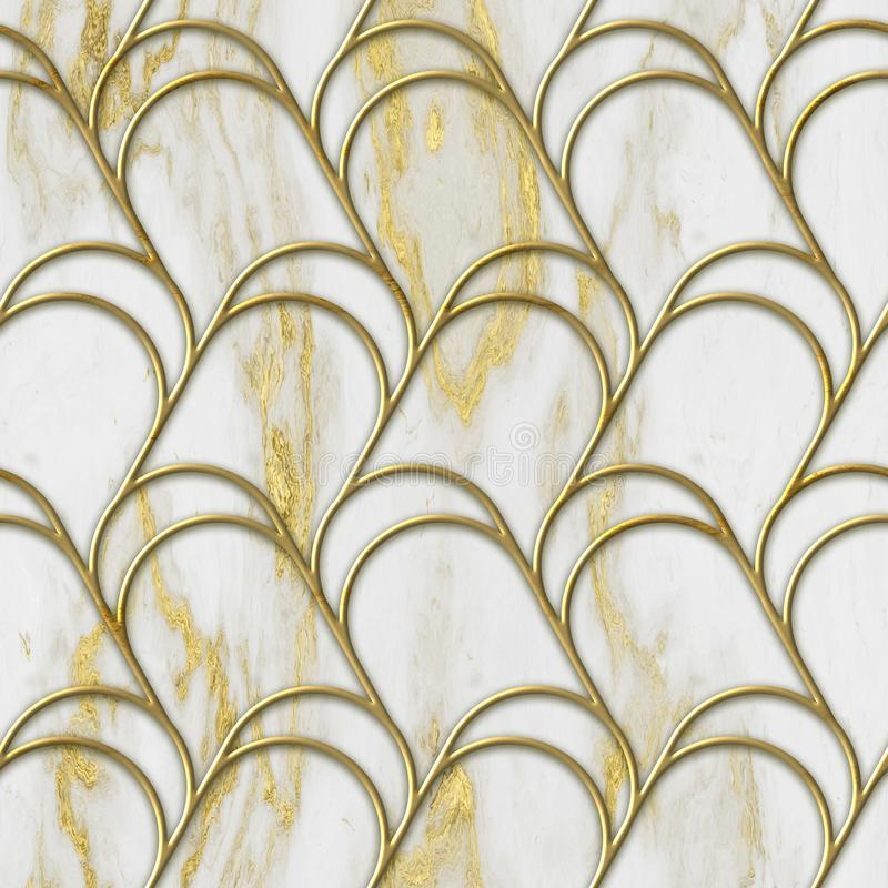 Struttura senza cuciture di colore dell'oro e del marmo con il modello geometrico, illustrazione 3D fotografie stock libere da diritti