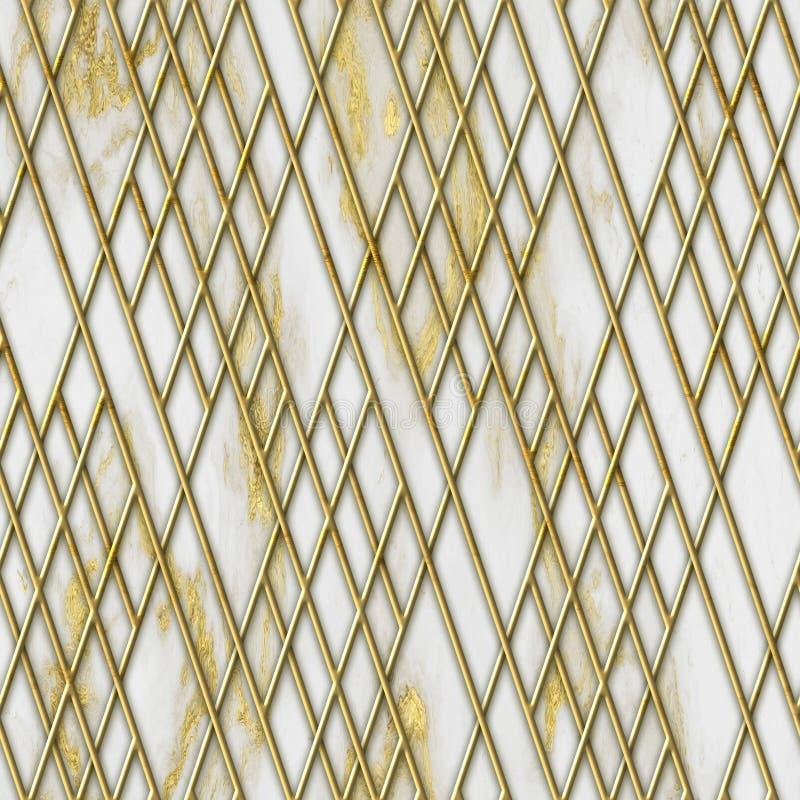 Struttura senza cuciture di colore dell'oro e del marmo con il modello geometrico, illustrazione 3D immagini stock