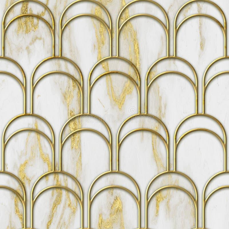 Struttura senza cuciture di colore dell'oro e del marmo con il modello geometrico, illustrazione 3D immagini stock libere da diritti