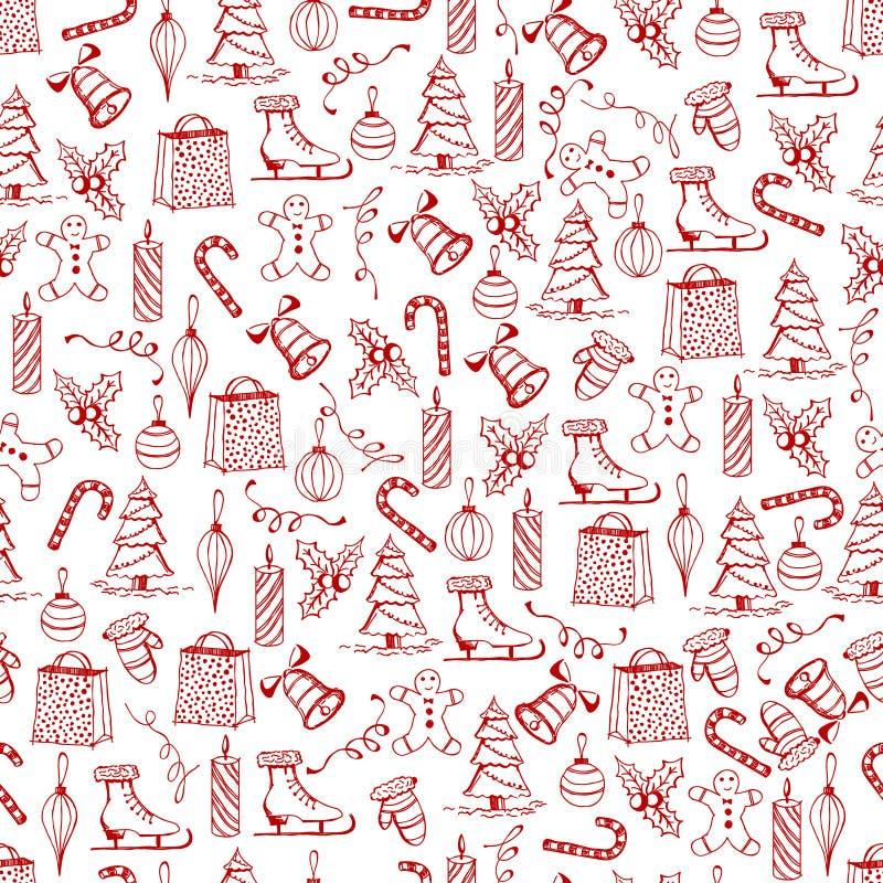 Struttura senza cuciture di Natale con gli oggetti rossi di Natale fatti nello stile dipinto a mano immagine stock