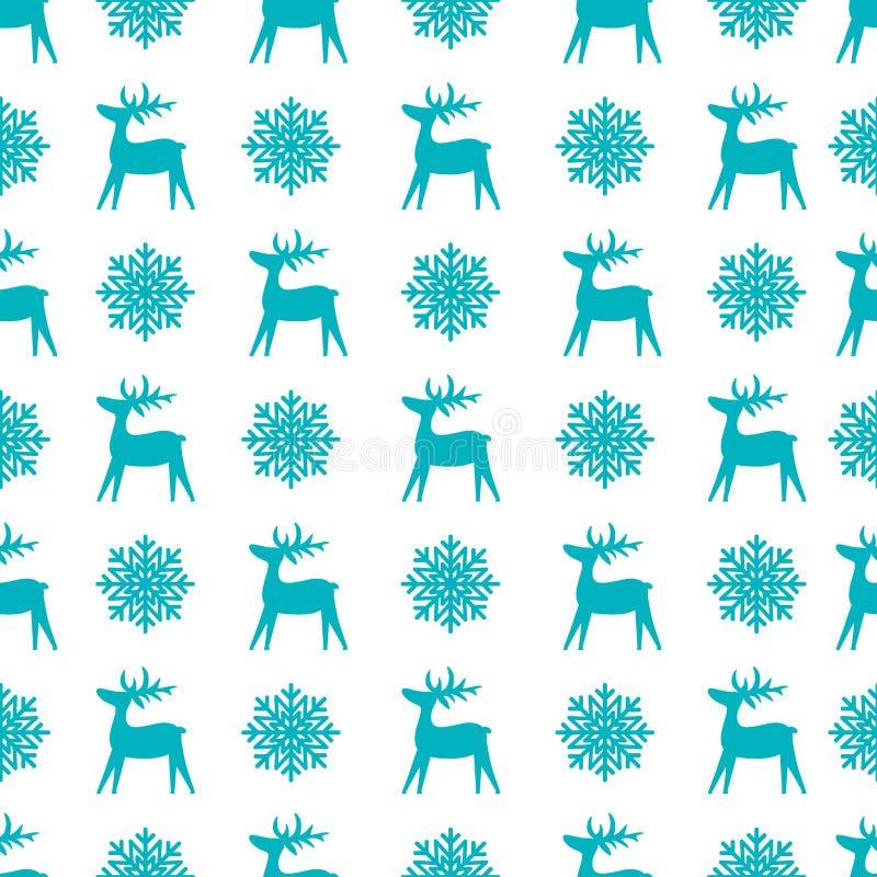 Struttura senza cuciture di Natale con la renna ed i fiocchi di neve fotografia stock