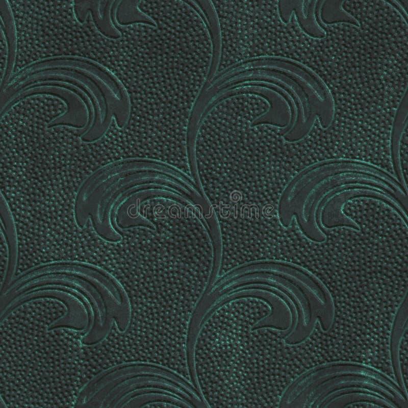 Struttura senza cuciture di rame con il modello di fiori su un fondo metallico dell'ossido illustrazione di stock